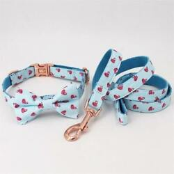 Free Engraved Flamingo Bow Tie Collar Leash Set For Cats And Dogs