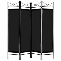 Black 4 Panel Room Divider Privacy Screen Home Office Fabric Metal Frame