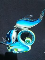 Murano Style Dolphins On Wave Sculpture