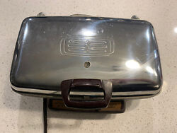 Vintage General Electric Ge Chrome Waffle Maker Iron Grill 14g42 Tested Works