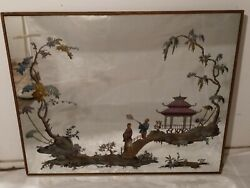 Large Antique Reverse Painted Friedman Bros. Wall Mirror Asian Scene W Figures