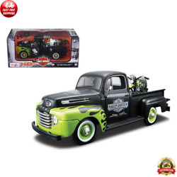 1948 Ford F-1 Pickup Truck Harley Davidson W/motorcycle 1/24 Diecast By Maisto
