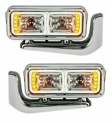 Outlaw Customs Chrome Led Headlight Assemblies W/mounting Arms Kenworth 389/379