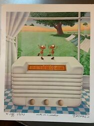 Michael Bedard Signed Dated Lithograph Ants On The Radio