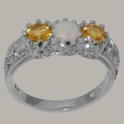 18ct White Gold Natural Opal And Citrine Womens Trilogy Ring - Sizes J To Z