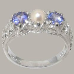 18ct White Gold Full Pearl And Tanzanite Womens Trilogy Ring - Sizes J To Z