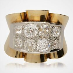 Vintage Retro French Two Row Diamond Cluster Ring - 1940s