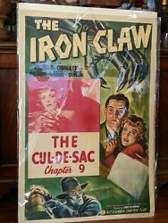 1941 Original The Iron Claw Serial Movie Poster Charles Quigley Linen Mount