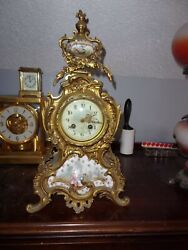 Antique French Ag Mougin Hand Painted Porcelain Rococo Style Clock