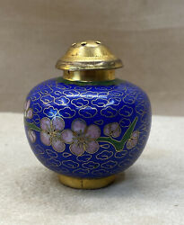 Vintage Chinese Cloisonné Salt Or Pepper Shaker - Blue And Green + Other Colors