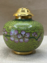 Vintage Chinese Cloisonné Salt Or Pepper Shaker - Green And Pink + Other Colors