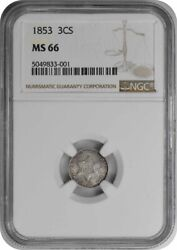 1853 Three Cent Silver Ms66 Ngc