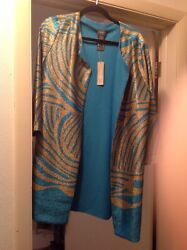 Travelers By Chicos Crushed Zebra Jacket Size 2 Multi Color With Tag 139.00
