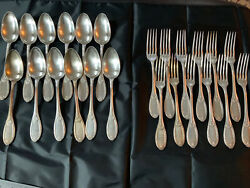 Russian Silver Table Spoons And Forks 84 Apollo 64 Ozts