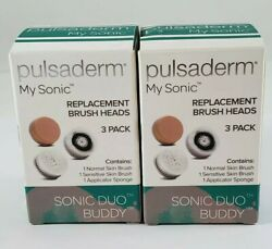 2 Pulsaderm My Sonic Replacement Brush Head 3pk X2 Sonic Duo Buddy K7