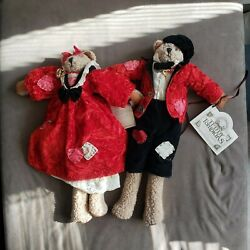 Vtg Teddy Tompkins Collectible Bears. Red And Black Outfits. Unique Bears. 17