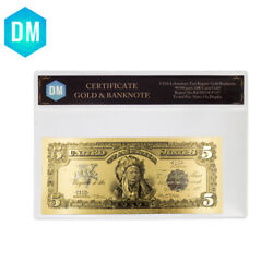1899 Year 5 Dollar Gold Banknote Collectible Gold Plated Paper Money With Crafts