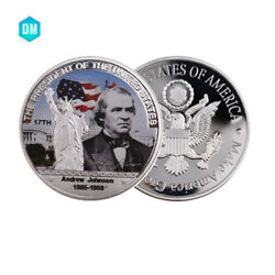Us 17th 999.9 Silver Plated Silver Coin Andrew Johnson Famous Person Gift Coin
