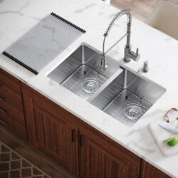 Mr Direct 3120d All-in-one Double-bowl Kitchen Sink, 31 Inch