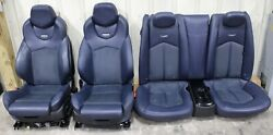 2011-2015 Cadillac Cts-v Coupe Blue Leather W/ Suede Recaro Seat Set Used Oem Gm