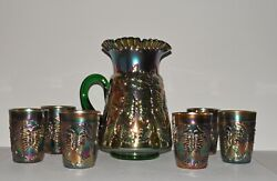 Vtg Fenton Butterfly And Fern Green Carnival Glass Water Pitcher And 6 Tumblers Set