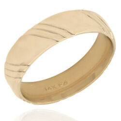 6.1m Diagonal Fluted Comfort Wedding Band/ Ring In 14k Yellow Gold