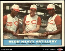 1961 Topps 25 Frank Robinson / Vada Pinson / Gus Bell - Reds Heavy 6.5 - Ex/mt+