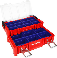 Workpro 17-inch Plastic Tool Box, Red Storage Box With Locking Lid And Stainless