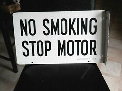 Vintage Rare Signal Oil And Gas Co. Porcelain No Smoking Stop Motor Station Sign