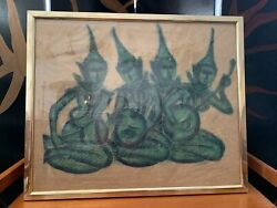 Vintage Authentic Cambodian Temple Rubbing Charcoal On Paper Mid Century