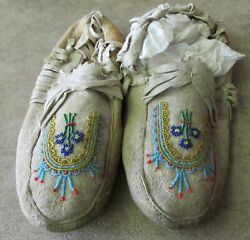 Beautiful Vintage Native American Indian Beaded Moccasines. 1930 To 1950
