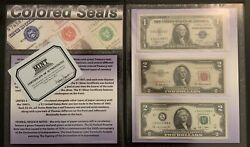 Multi Lot Of Currency Money Colored Seal Notes, Silver Certificates, Coins