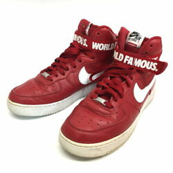 Nike X Supreme Air Force 1 High Top Sneakers 2 Red Leather Men's Size 10 Japan