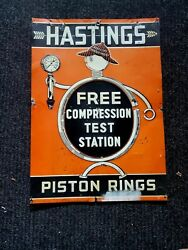 1930's Original Hastings Piston Rings Sign Old.see My Other Porcelain Neon Signs