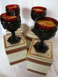 Four Avon Water Goblets Ruby Red Cape Cod With Boxes. Candles In Goblets