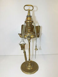 Antique 19th Century Brass Lucerne Oil Lamp With Light Reflector And Tools