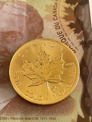 1 Oz Canadian Gold Maple Coin .9999 Pure