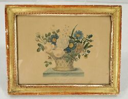 Antique Hand Colored Engraving Flower Basket Prentiss Estate West Cornwall Ct