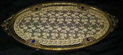 Rare Antique Jeweled Oval Shaped Vanity/perfume Tray With Lace Insert 14 X 6.5