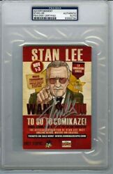 Stan Lee Comikaze Convention 4x6 Card Autographed Signed Certified Psa/dna Coa