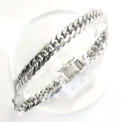 Platinum 850 Bracelet About20cm Curb Chain 6sides Double Free Shipping Used