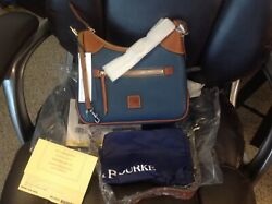 NWT DOONEY amp; BOURKE PEBBLE LEATHER SMALL HOBO IN JEANS CARD amp; COVER $130.00