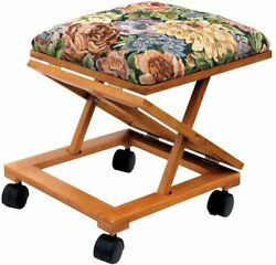 Etna Tapestry Top Foot Rest - Rolling Collapsible Cushioned Foot Stool Ottoman