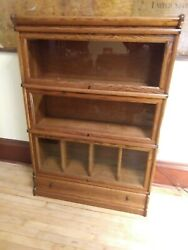 Macey Oak Barrister Bookcase With Three Sections And Drawer