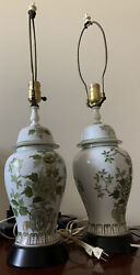 Vtg 2 Chinese Asian Porcelain Ginger Jar Table Lamps Chinoiserie Green Gold Wh