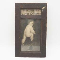 Antique 1905 Framed Print And039 In The Dark Hall With A Little Bear Behindand039