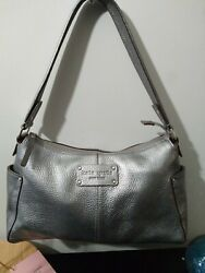 Kate Spade Rare Metallic Gray Pewter Leather Hobo Tote Shoulder Bag Satchel $35.00