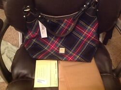 NEW WITH TAGS DOONEY amp; BOURE BLACK TARTAN PLAID ERICA HOBO SHOULDER BAG $60.00