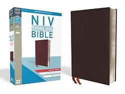 Niv, Thinline Bible, Large Print, Bonded Leather, Burgundy, Red Letter E .. New