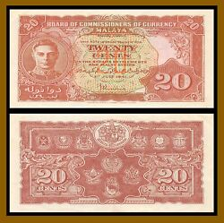 Malaya 20 Cents 1941 P-9a King George Vi Banknote Very Fine/extra Fine Vf/xf